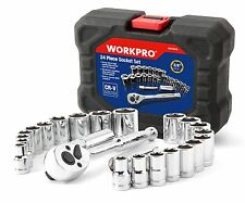 "WORKPRO 24PC Metric SAE Sockets Set 3/8"" Ratchet Drive Handle 3"" Extension Bar"