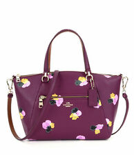 NEW COACH PRAIRIE SATCHEL BAG HANDBAG FLORAL PRINT GOLD PLUM PURPLE $350