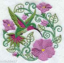 HUMMINGBIRD IN FLOWERS STUNNING  SET OF 2 BATH HAND TOWELS EMBROIDERED BY LAURA