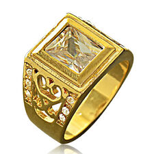Mens Jewelry Yellow Gold Filled Square Cubic Zirconia Ring Size 10 Gift Big