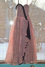 vintage 30s Blue Velvet striped organza Gown Dress m euc