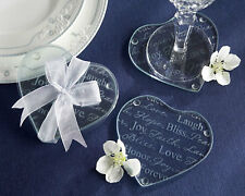 75 Sets of 2 Good Wishes Glass Heart Shaped Coaster Wedding Favors in Gift Box