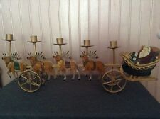Santa's Sleigh 8 Reindeer Christmas Candle Holder Mantle Center Piece