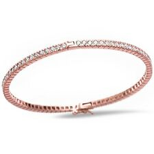 Rose Gold Plated Round Cut Cubic Zirconia .925 Sterling Silver Bangle Bracelet