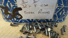 """PACK OF 50  3/32"""" x 3/8"""" COUNTERSUNK HEAD STEEL IRON RIVETS  NOS STEAM  BOX 36"""