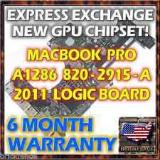 "EXCHANGE MACBOOK PRO 15"" A1286 820-2915-A 2011 LOGIC BOARD REPAIR NEW GPU REBALL"