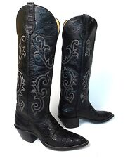 "Custom Black Caiman Alligator Cowboy Boots - Mens 10.5C 17"" Tall Hondo Vintage"