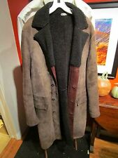Men's Opifix Very Rare Italian Shearling & Leather Coat, 40 Long, Made in Italy