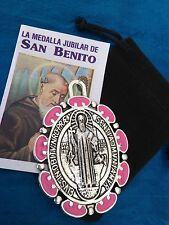 Silver Plated PINK  Saint St Benedict Pendant Cross Medal/ Medalla DE SAn Benito