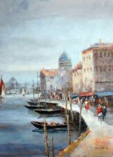 Stretched French Impressionism Original Oil Painting On Canvas Venice Harbor