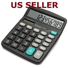 US SHIP Solar Digital Electronic Battery 12-Digits Calculator Desktop BIG Button