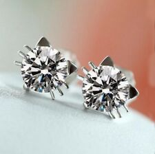 18k White Gold GP Swarovski Crystal Diamond Cat Earrings Studs for Girl E160a