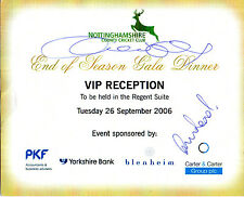 FREDDIE FLINTOFF HANDSIGNED NOTTINGHAMSHIRE COUNTY CRICKET RECEPTION INVITE
