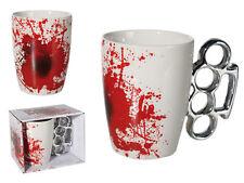 Bloody Mug Becher Keramik mit Blutflecken Schlagring 12,5x11 cm Kaffe Tee Tasse