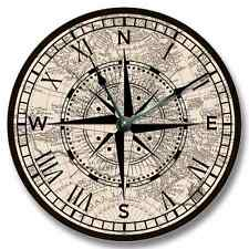 Compass Rose w/ Old Map Pattern Wall CLOCK - Beachy Antique Home Decor - 7131