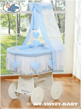 My Sweet Baby - Hearts White Canopy Wicker Crib Moses Basket - Blue