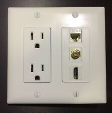 2 Gang Power Outlet 15A 125V 1x HDMI 1x Coax 1x Ethernet Cat5 Wall Plate White