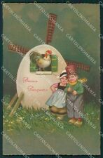 Colombo Art Deco Dutch Children Easter Greetings serie 2186 postcard QT6465