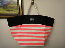 NEW Victorias Secret SWIM Tote 2016 Beach Bag Pink White Stripe Rope Handle bEAC