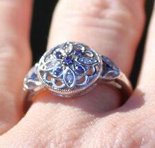 Sterling Silver Genuine Sapphire & .03 CTW Diamond Kaleidoscope Flower Ring SZ 6