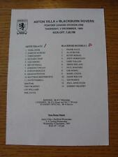 02/12/1993 Aston Villa Reserves v Blackburn Rovers Reserves  (Single Sheet, Scor