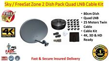 Sky / FreeSat 80cm Zone 2 Satellite Dish Quad LNB 25m Twin Black Cable Kit