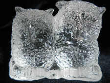 Crystal clear glass OWL Bird screech great horned barn pair snow paperweight art