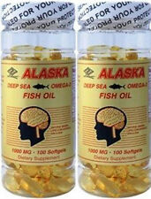 2 x Alaska Purified Deep Sea Fish Oil Omega 3 200 sg total EPA 360mg DHA 240mg