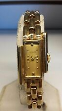 Vintage Le Coultre  Asymmetrical 17 Jewel 14k Solid gold watch/band ART-DECO