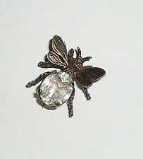 Vintage Signed Cini Sterling Silver Bee Pin Brooch Faceted Crystal Clear Stone
