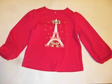 Gymboree Parisian Chic Girls L/S Pink Top Eiffel Tower Puppies Applques, 3T