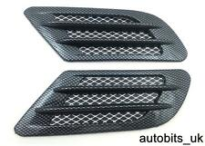 2x Carbon Wing Air Side Vent Trim Intake Fender Cover Duct Flow Grille Sticker