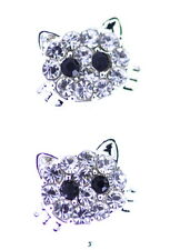 Color plata cristal transparente kitty gato gatito pendientes de aro