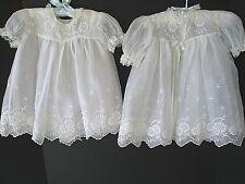EXQUISITE VINTAGE WHITE ORGANDY BABY DRESS & COAT W/SLIP...LARGE ANTIQUE DOLL