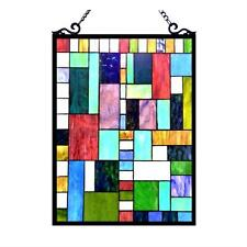 Tiffany Style Stained Glass Victorian Window Panel 18 X 24 Inches Handcrafted