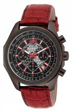 New Mens Invicta 18440 World Navigator Red Leather Strap Watch
