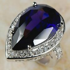 Awesome HUGE Amethyst  White Topaz   Ring 925 silver size  9