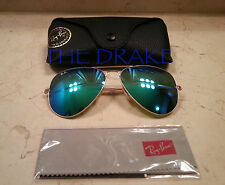 New 62mm Ray Ban Flash lens Light Blue mirror Aviator Sunglasses Cy Green LARGE