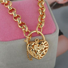 18k Gold Filled Filigree Heart Padlock Bracelet Chain Fashion Womens Jewelry