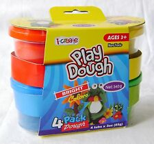 NEW 4 POTS OF PLAY DOUGH MODELLING CLAY BRIGHT COLOURS 340g i-CREATE