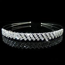 Diamante Bridal Hairband Rhinestone Head Piece Band Crystal Tiara Silver Wedding