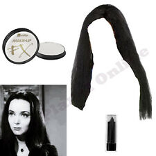 MORTICIA LONG BLACK WIG PAINT & LIPSTICK ADDAMS FAMILY FANCY DRESS HALLOWEEN