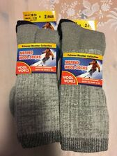 4 Pack Merino Wool Thermal Men Crew Socks 10-13 Winter Hiking Comfort Outdoor