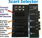 SCART SWITCHER SELECTOR SWITCH BOX CONNECT 3 WAY DEVICES 2 1 SOCKET AUDIO RECORD