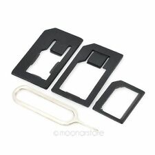 4 in 1 Nano SIM Card to Micro Standard Adaptor Converter Set For iPhone 5 Black