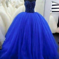 Royal Blue Quinceanera Dresses Sweet 15 16 Tulle Wedding Formal Prom Ball Gowns