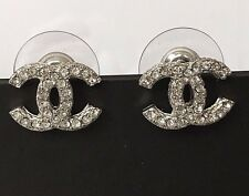 CHANEL SILVER METAL CC LOGO SWAROVSKI CRYSTALS  EARRINGS 2016 CHANEL VELVET BOX