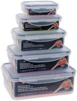 SET OF FIVE CLIP LOCK AIRTIGHT PLASTIC KITCHEN FOOD STORAGE CONTAINER