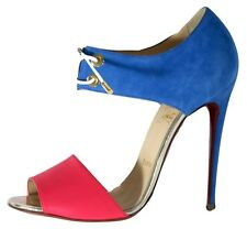 "CHRISTIAN LOUBOUTIN NEW BLUE SUEDE/PINK LEATHER ""LACE UP"" SANDALS/HEELS - 41 /10"
