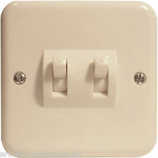 Crabtree Flush Fitting Ivory Bakelite Switch 2Way 2Gang